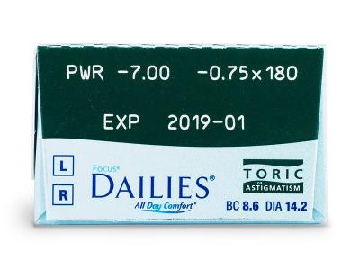 Focus Dailies Toric (30čoček) - Náhled parametrů čoček