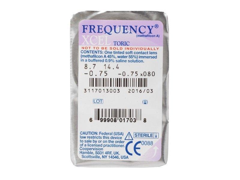 Vzhled blistru s čočkou - FREQUENCY XCEL TORIC (3čočky)