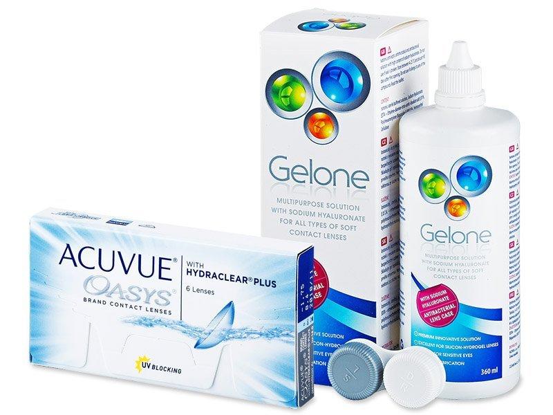 Acuvue Oasys (6čoček) + roztok Gelone 360ml - Výhodný balíček