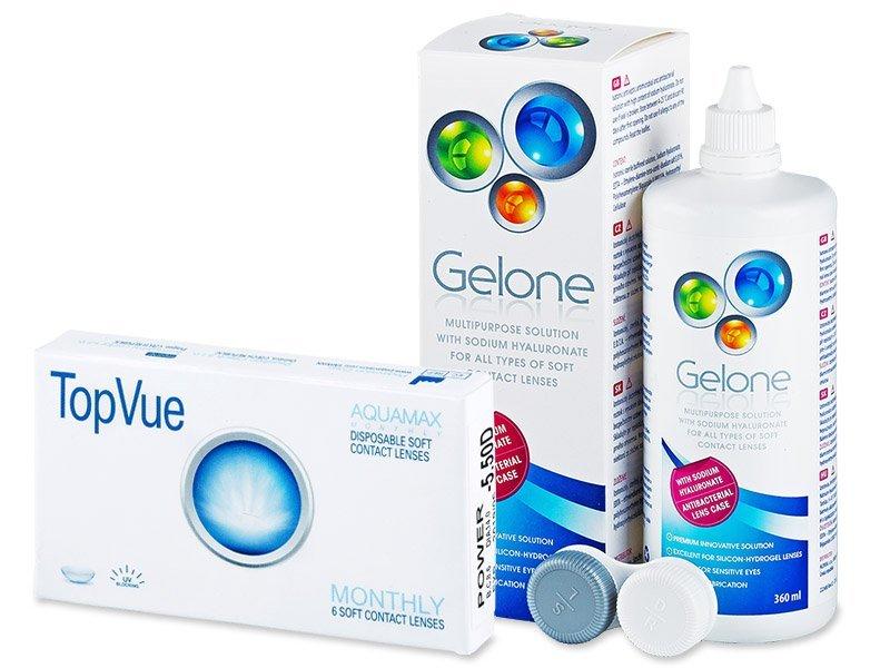 TopVue Monthly (6čoček) + roztok Gelone 360ml - Výhodný balíček