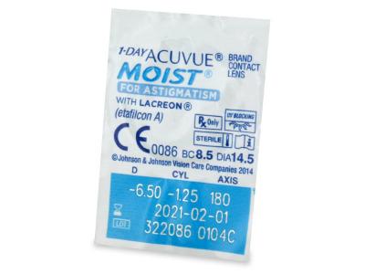 Vzhled blistru s čočkou - 1 Day Acuvue Moist for Astigmatism (30čoček)