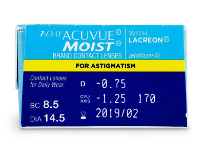 Náhled parametrů čoček - 1 Day Acuvue Moist for Astigmatism (30čoček)