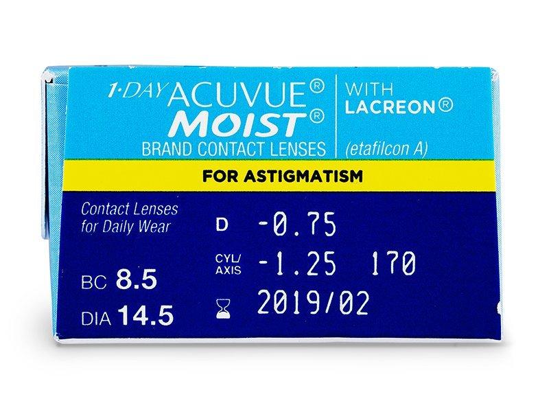1 Day Acuvue Moist for Astigmatism (30čoček) - Náhled parametrů čoček